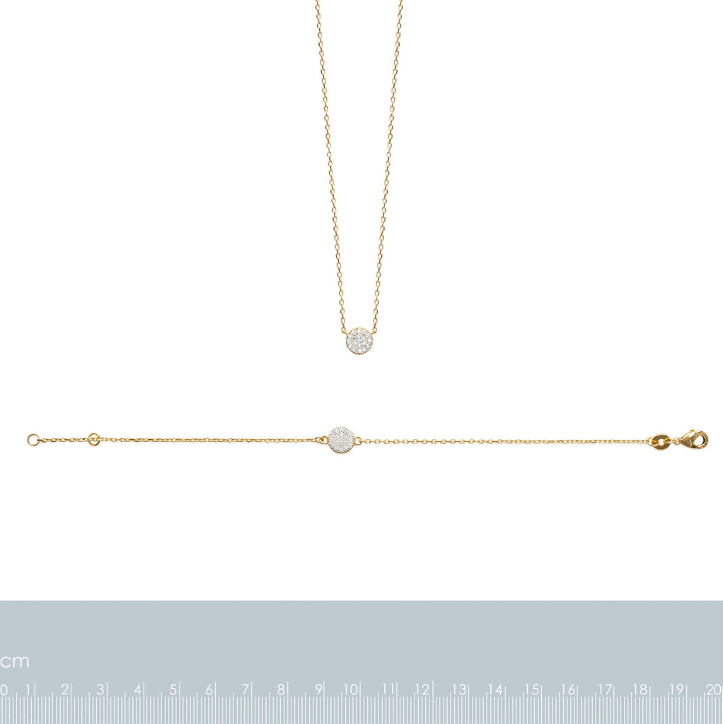 Burren Jewellery 18k gold plated Pav Ehh necklace measurements