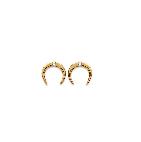 Burren Jewellery 18k gold plated over the moon earrings