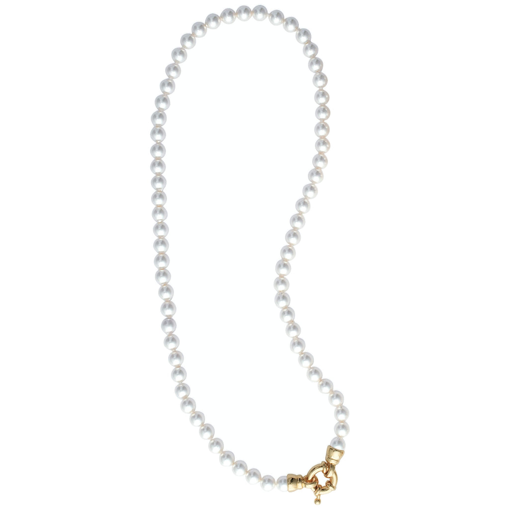 Burren Jewellery grace pearl necklace with 18k gold plate clasp in front