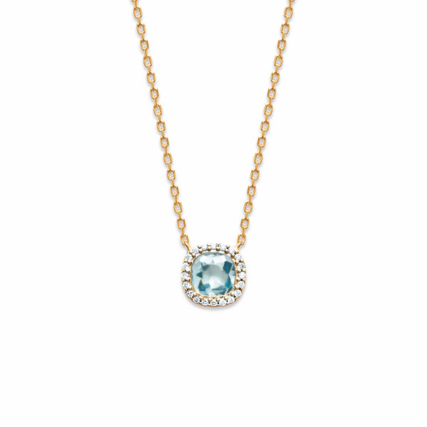 Burren Jewellery Cushion me 18k gold plate aqua necklace