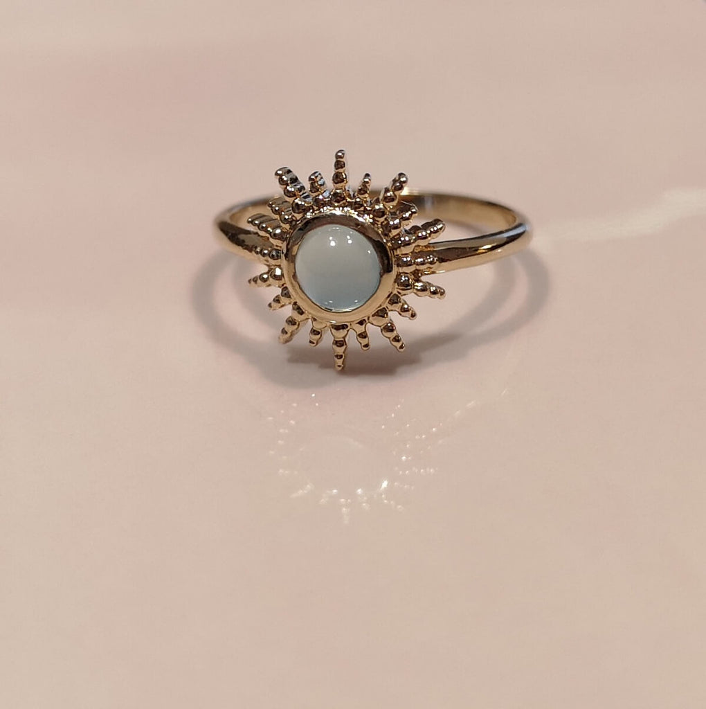 Burren Jewellery Depend On You 18k gold plated Ring with agate round stone on pink tile