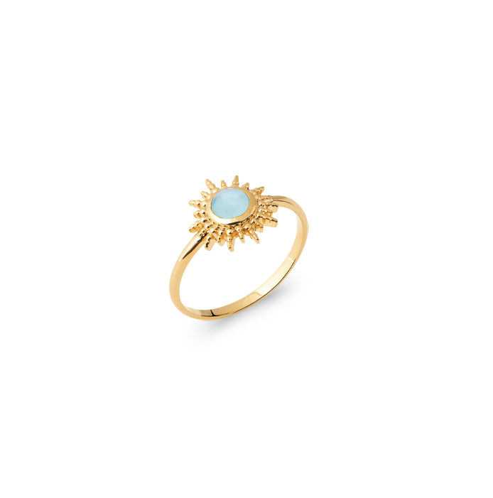 Burren Jewellery Depend On You 18k gold plated Ring with agate round stone