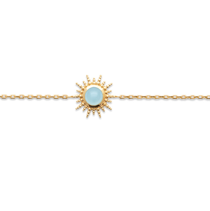 Burren Jewellery Depend On You 18k gold plated bracelet with agate round stone