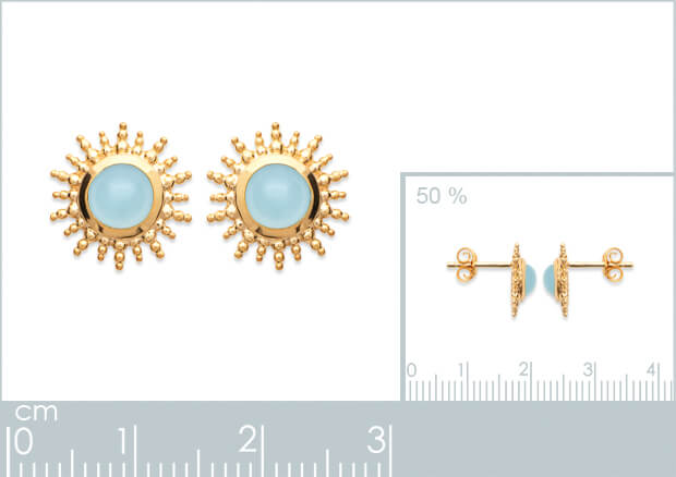 Burren Jewellery Depend On You 18k gold plated earring with agate round stone measurements