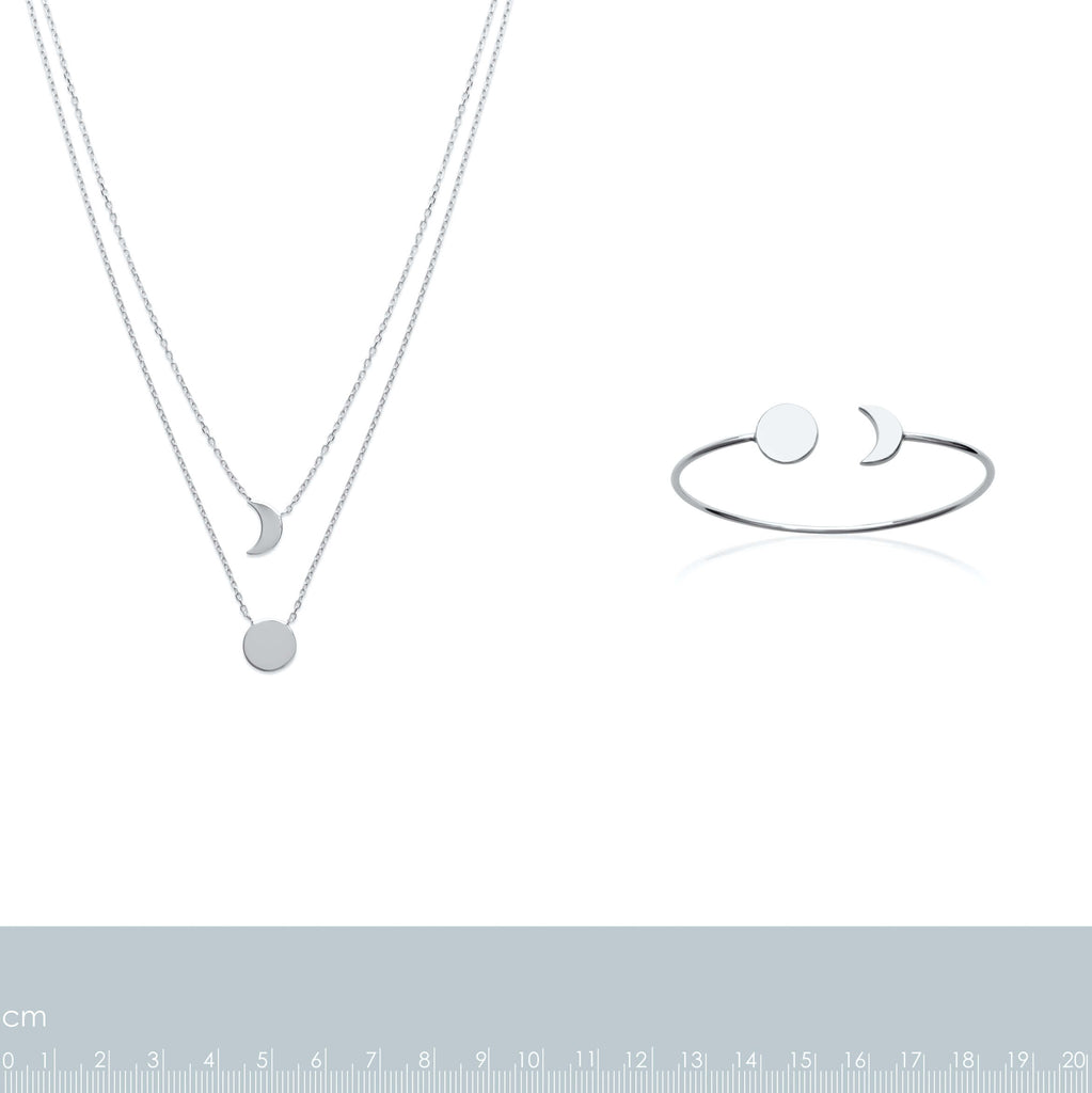 Burren Jewellery Silver the sun and moon necklace measurements
