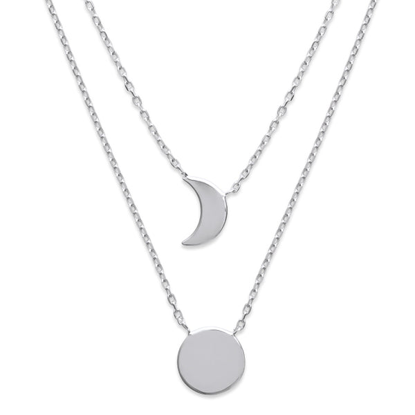 Burren Jewellery Silver the sun and moon necklace