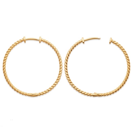 Burren jeweller 18k gold plated before we were born hoop earrings large front view