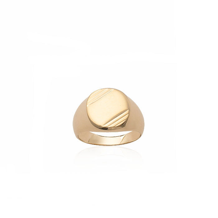 Burren jewellery 18k gold plated Signel is strongest signet ring front view