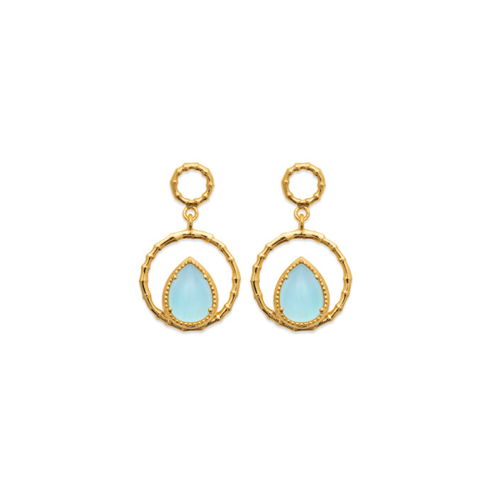 Burren Jewellery The Pair A Yea 18K gold plate earring with blue agate pear shape stone set