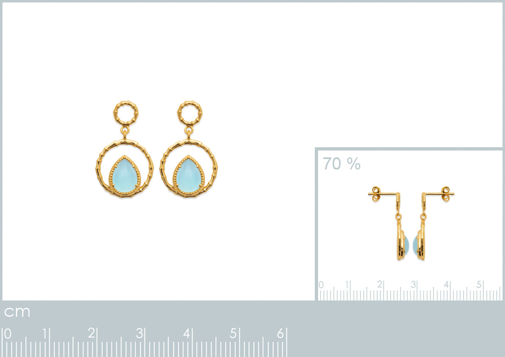Burren Jewellery The Pair A Yea 18K gold plate earring with blue agate pear shape stone set measurements