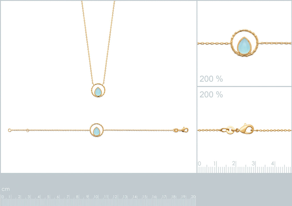 Burren Jewellery The Pair A Yea 18K gold plate necklace with blue agate pear shape stone set