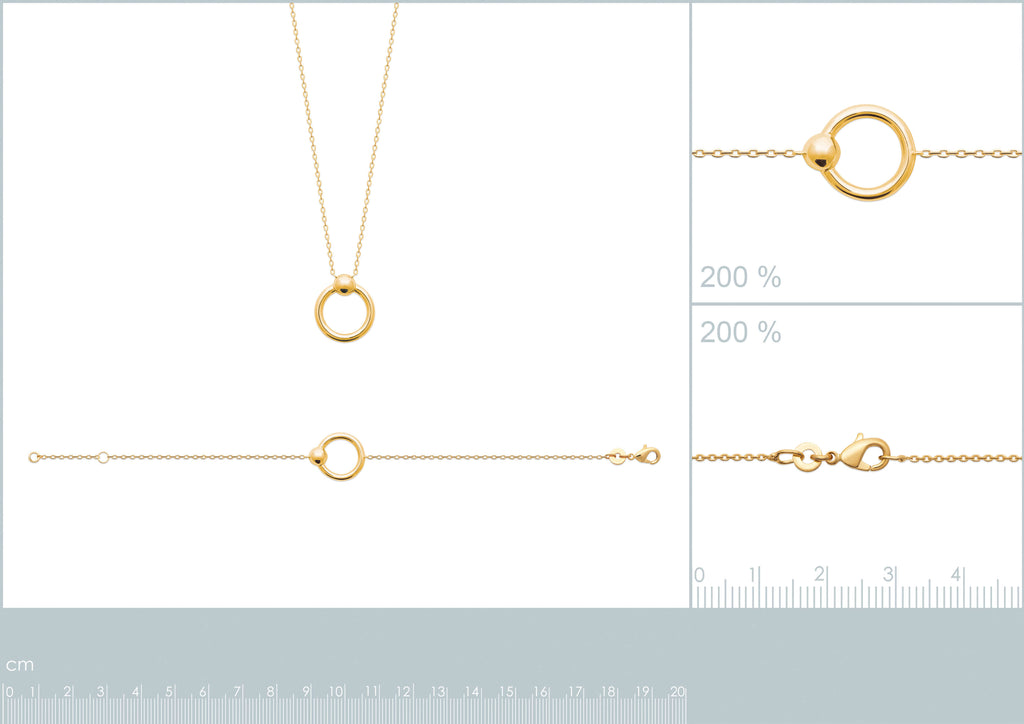 Burren Jewellery Your All I Need 18K gold plate bracelet round loop measurements