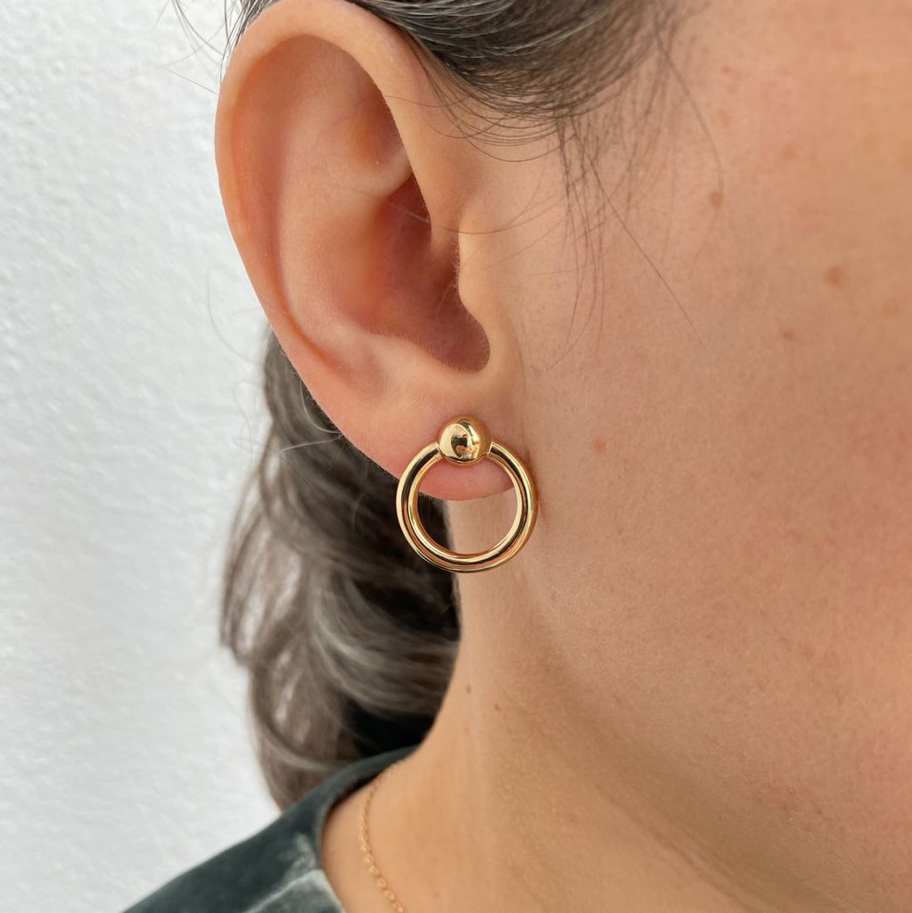burren jewellery Your All I Need 18K gold plate earring round loop on ear