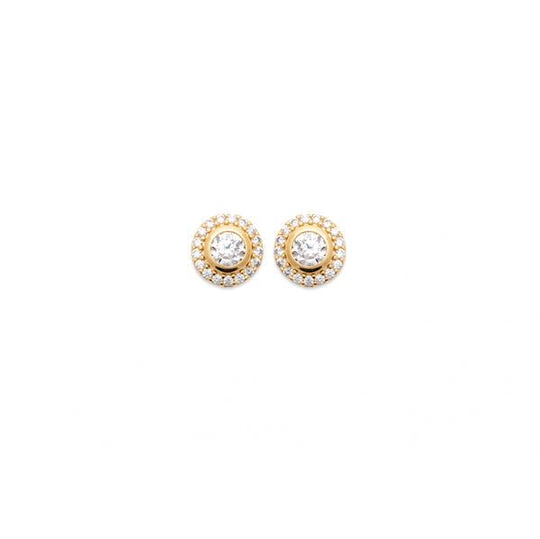 Rising Sun Earrings gold plated with cubic zirconia's in a cluster style