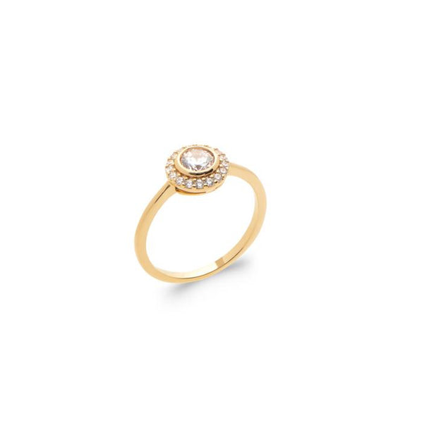 18K gold plate 'Rising Sun' ring set with Cubic Zirconia's in a cluster style