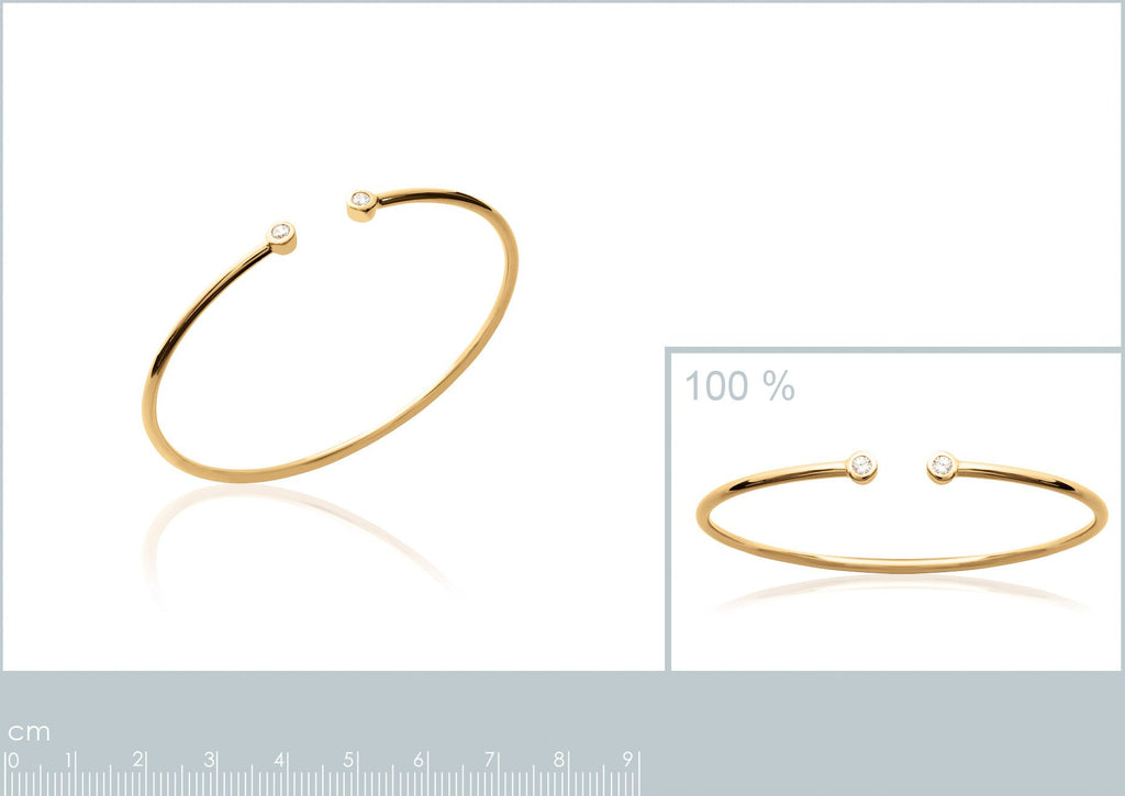18K gold plate 'Round About Midnight' Bangle with 2 Cubic Zircon stone's in rub over setting