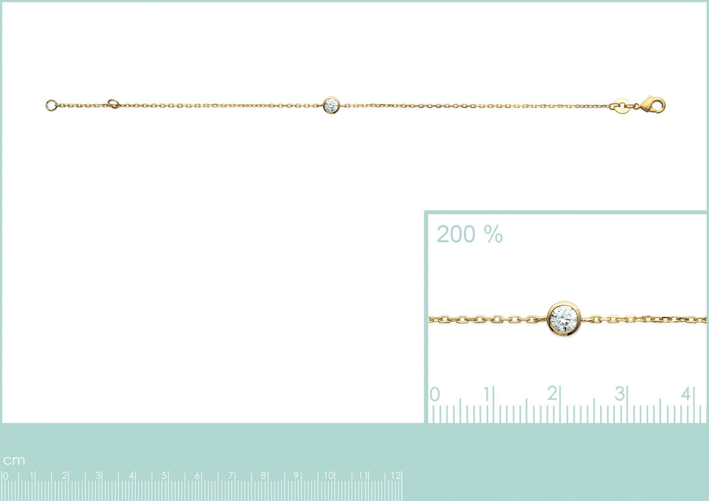 18K gold plate 'Round About Midnight' Bracelet with centre Cubic Zircon stone in rub over setting