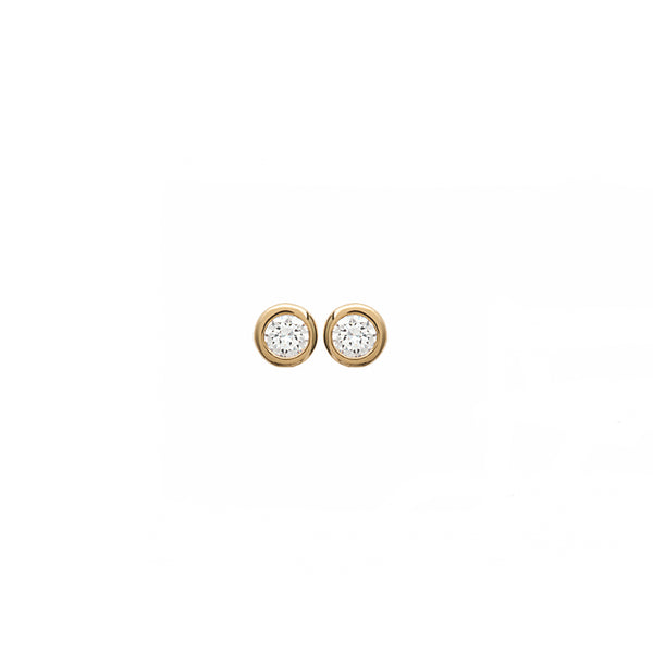 18K gold plate 'Round About Midnight' Earrings with centre Cubic Zircon stone in rub over setting