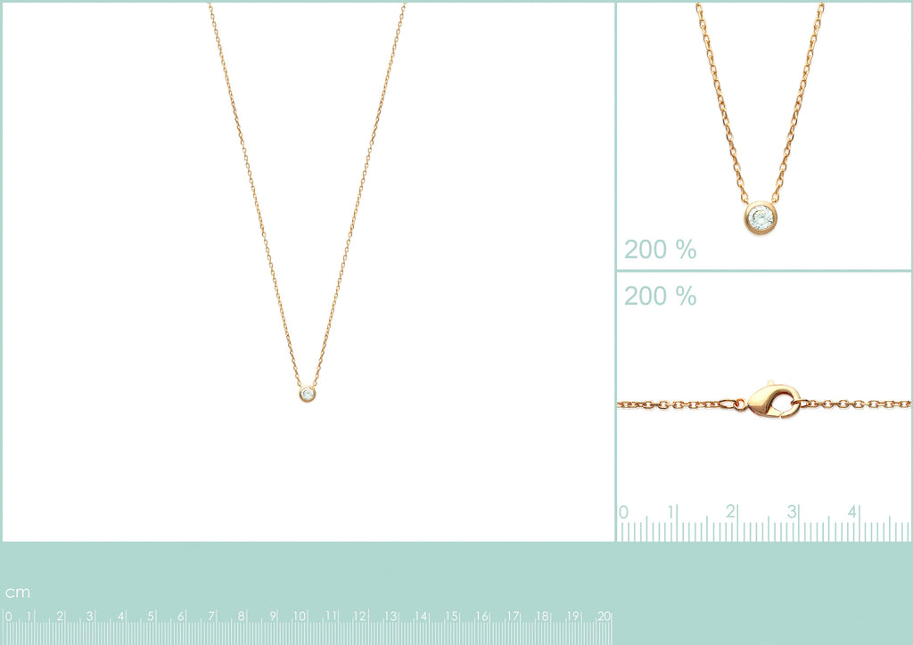 Measurements for 18K gold plate 'Round About Midnight' Necklace with centre Cubic Zircon stone in rub over setting