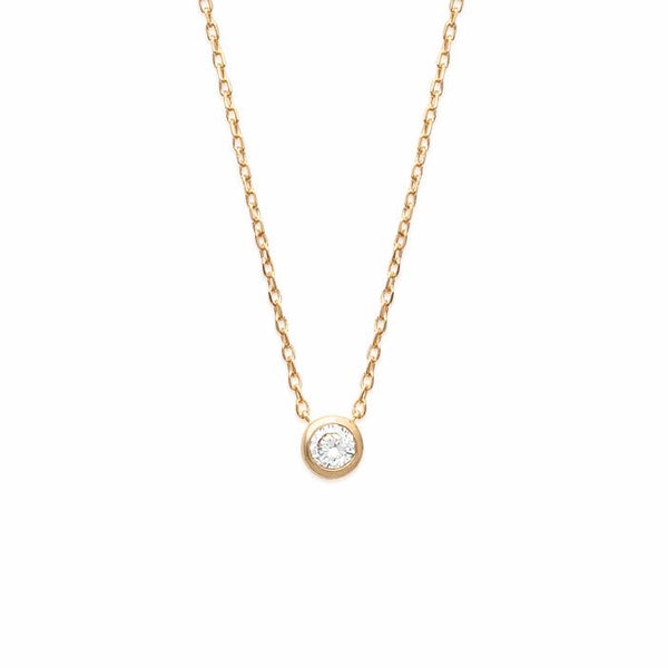 18K gold plate 'Round About Midnight' Necklace with centre Cubic Zircon stone in rub over setting