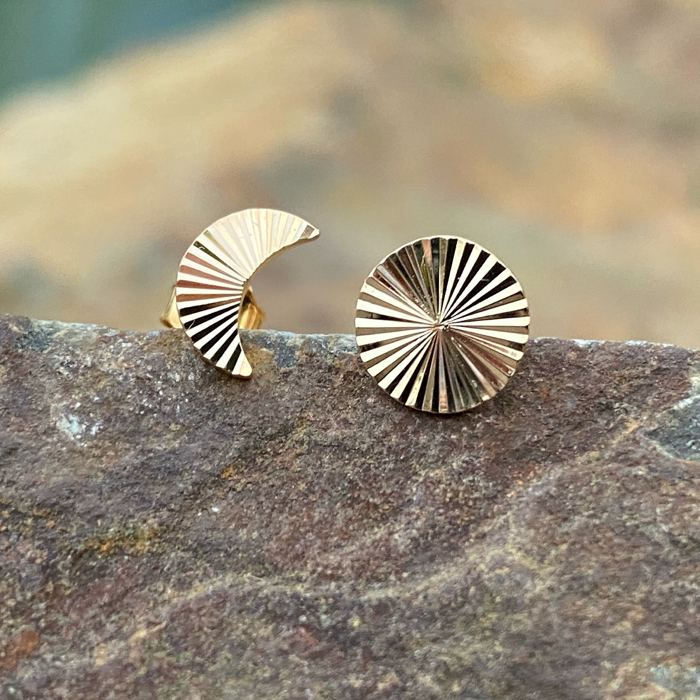 burren jewellery 18k gold plate grooved sun and moon earrings lifestyle