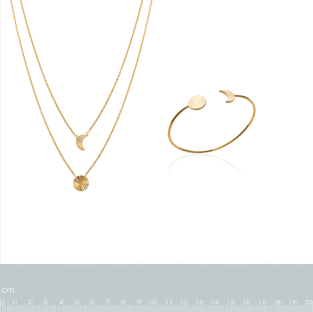 burren jewellery 18k gold plate grooved sun and moon layered necklace measurements