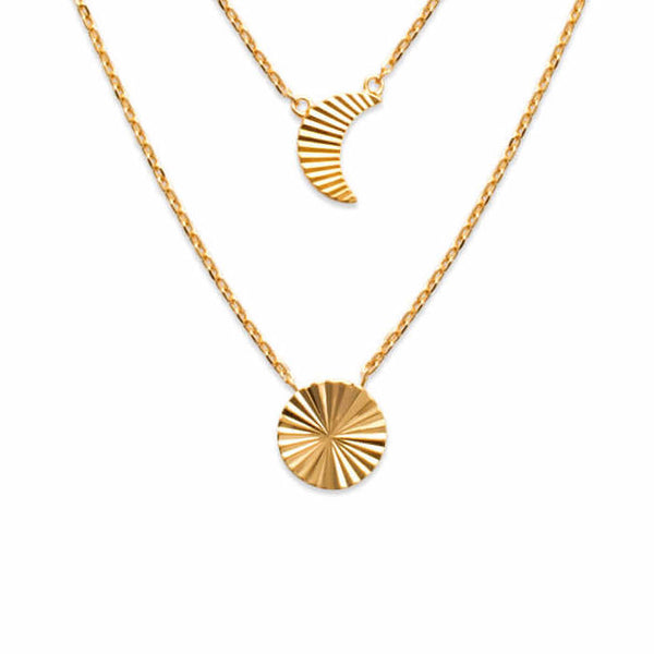 burren jewellery 18k gold plate grooved sun and moon layered necklace