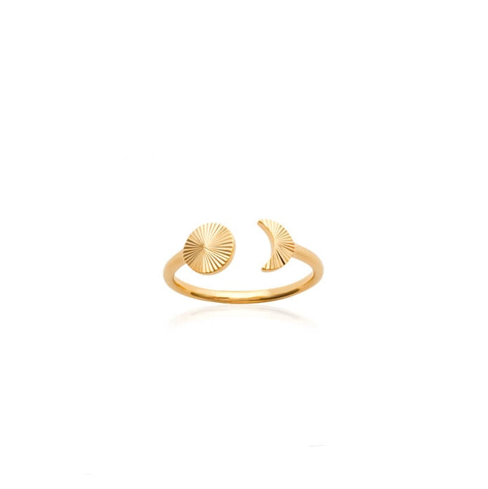 burren jewellery 18k gold plate grooved sun and moon ring front