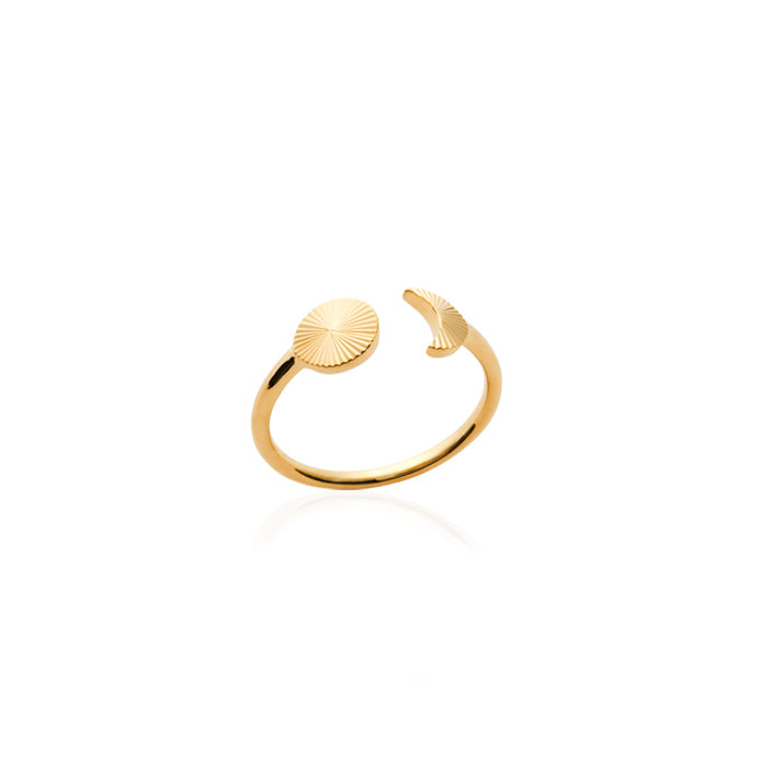 burren jewellery 18k gold plate grooved sun and moon ring