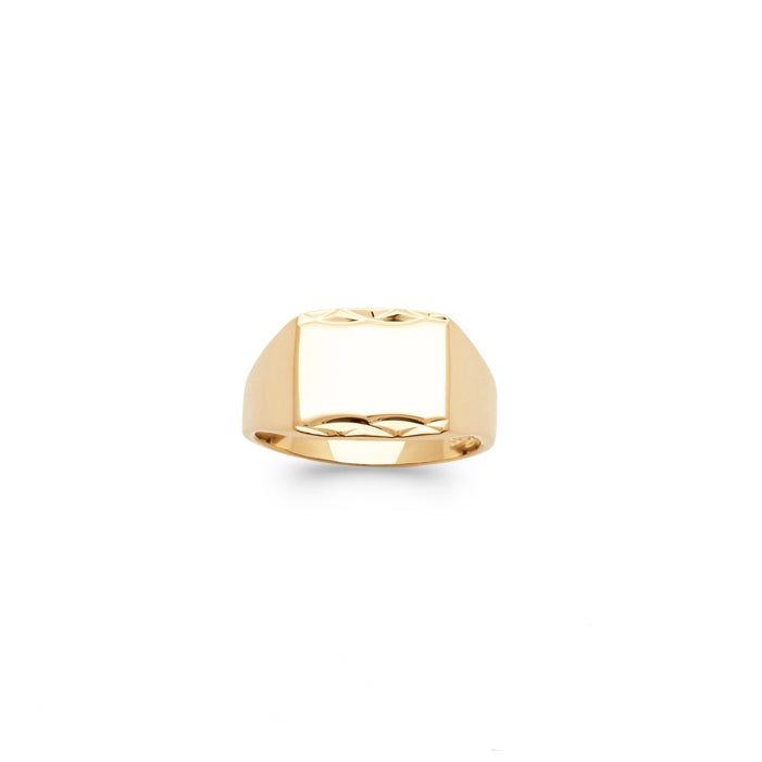 burren jewellery 18k gold plated Signal Is stronger Signet Ring front view
