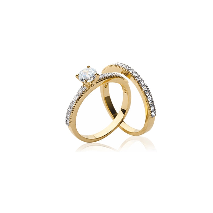 burren jewellery 18k gold set on you rings side view