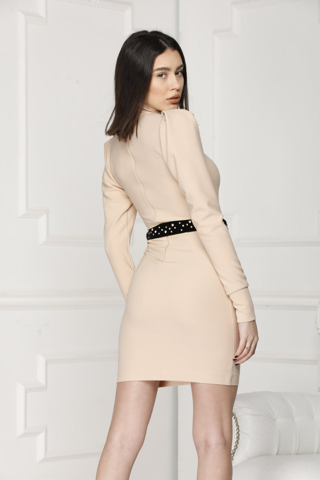 Adela Nude mini dress back details.
