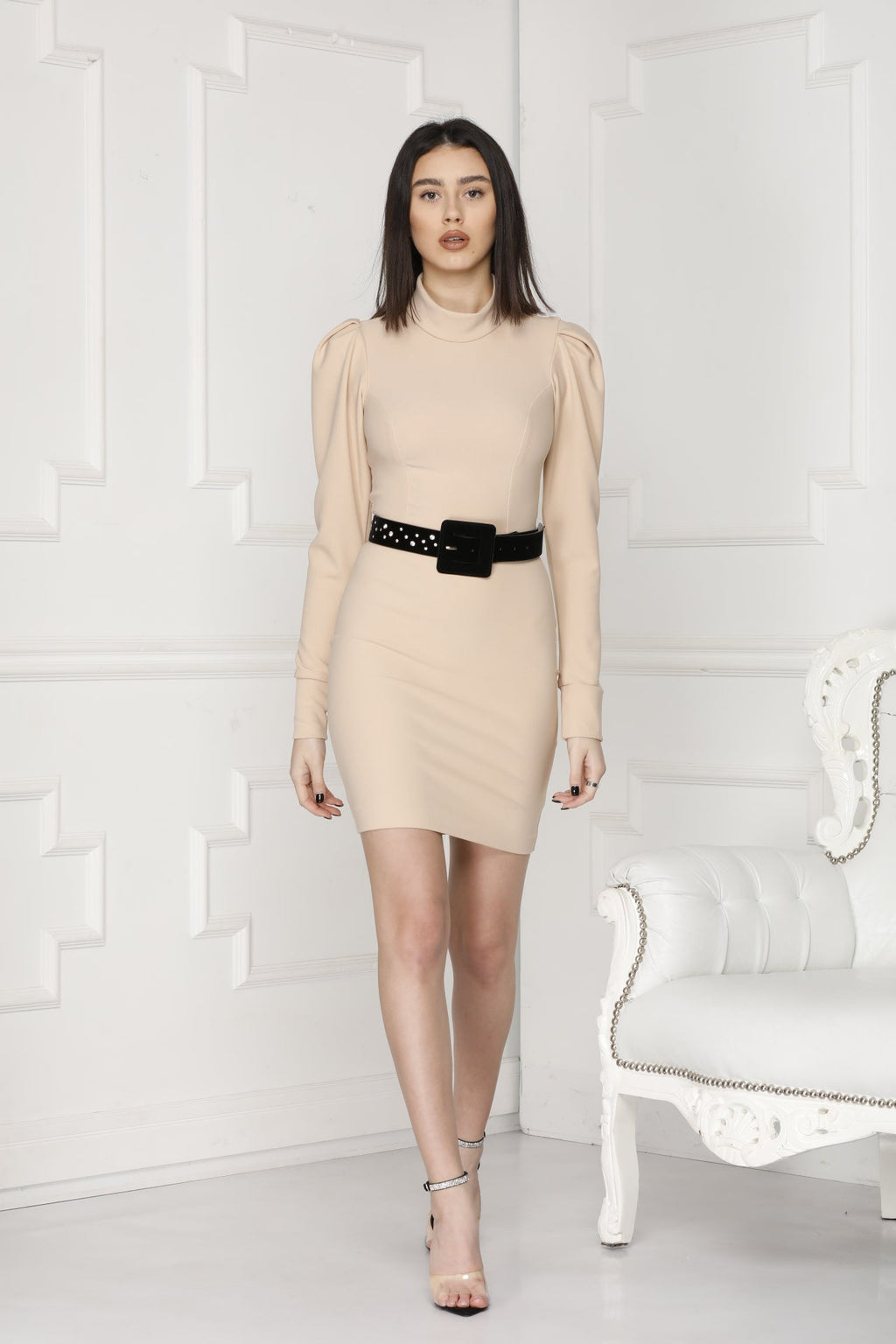 Adela Nude mini dress full details.