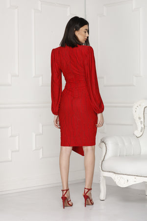Back Red Alissa Lurex Party Dress