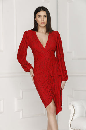 Red Alissa Lurex Party Dress