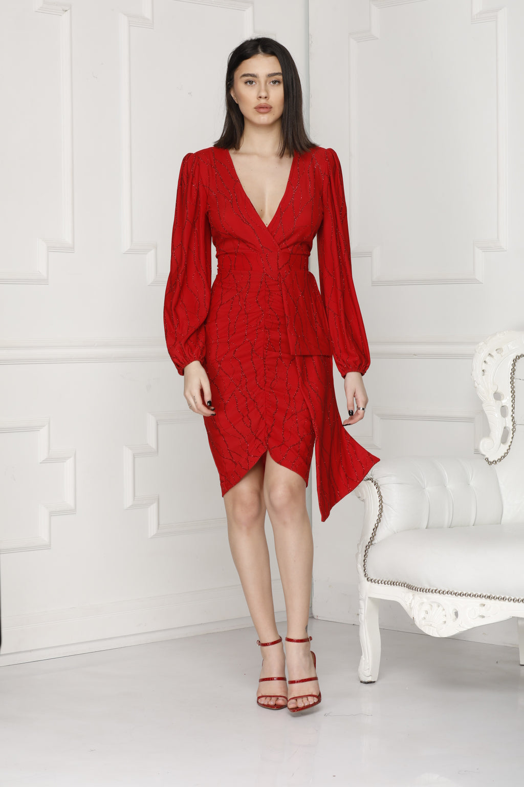 Full Red Lurex Party Alissa Dress