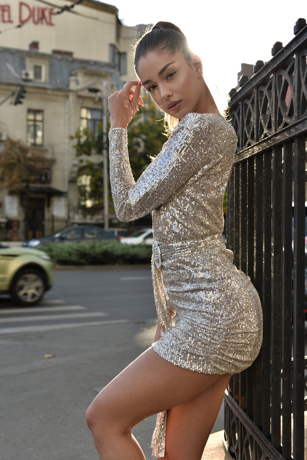 Alyna Silver Sequins Dress.
