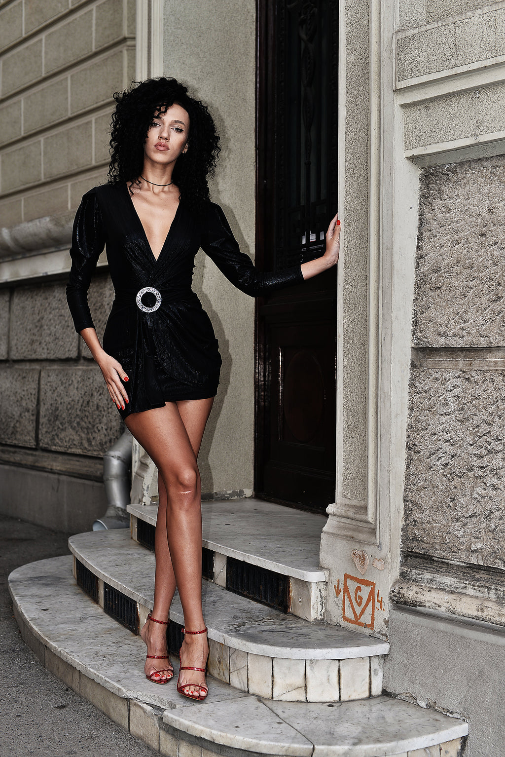 Andra Black Lurex party dress full body.