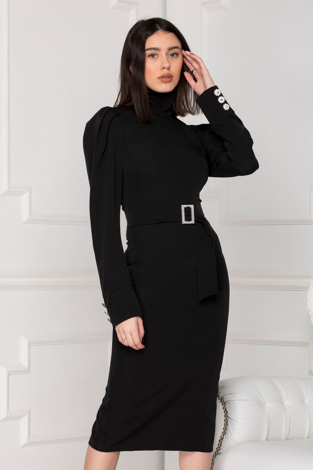 Black Midi Luxe dress with long puff sleeves with cuffs and high neck.
