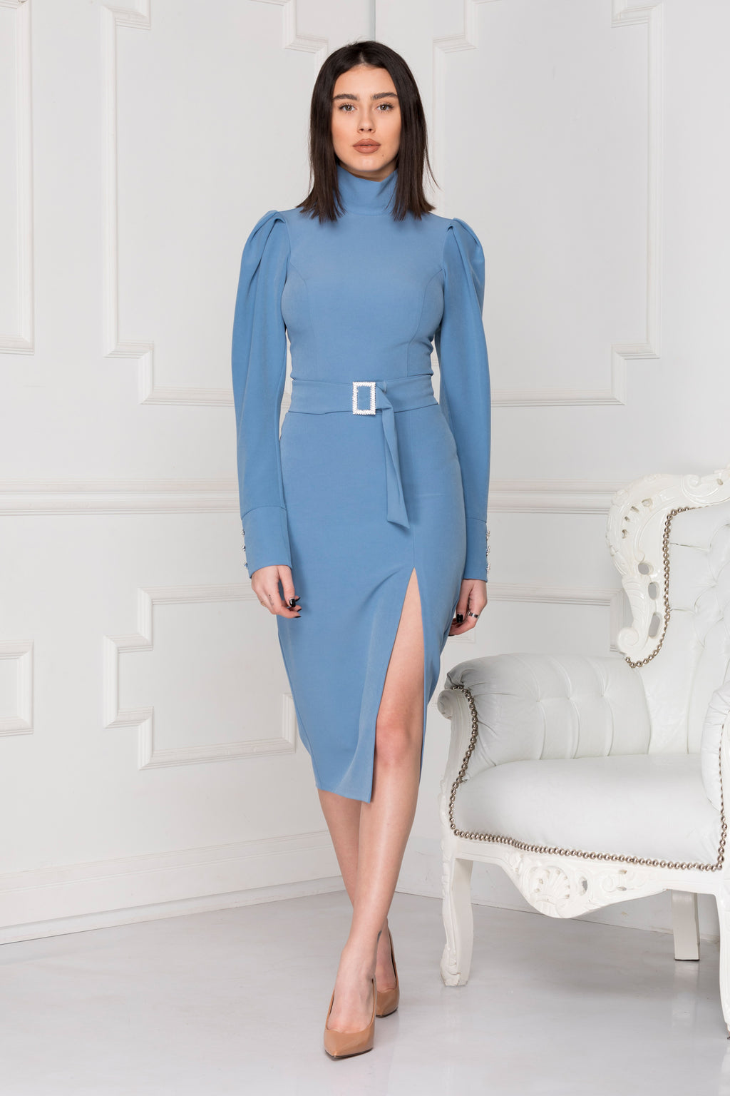 Blue midi luxe dress.