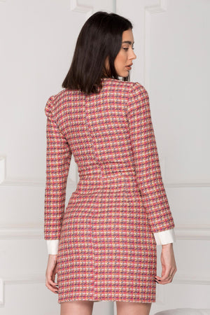 Business Woman Tweed dress back details.