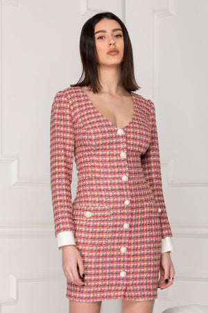Business Woman tweed Dress with pearl embellished buttons.