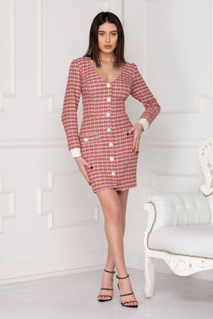 Business Woman tweed dress for office look.