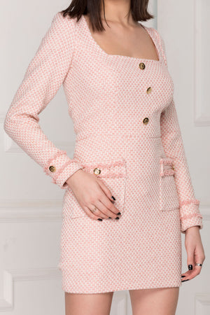 Classic pink tweed dress full details.