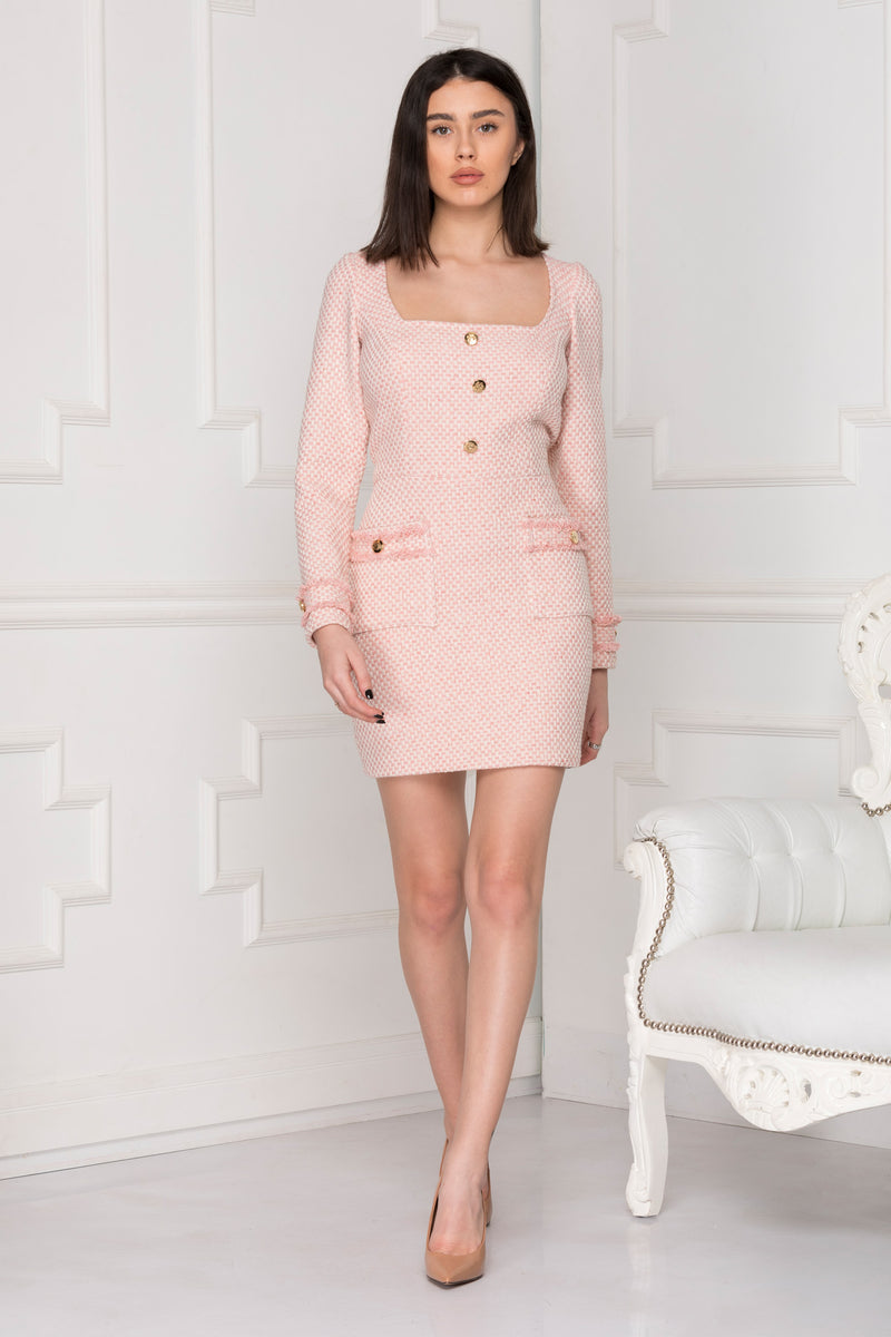 Classic Pink Tweed Dress.