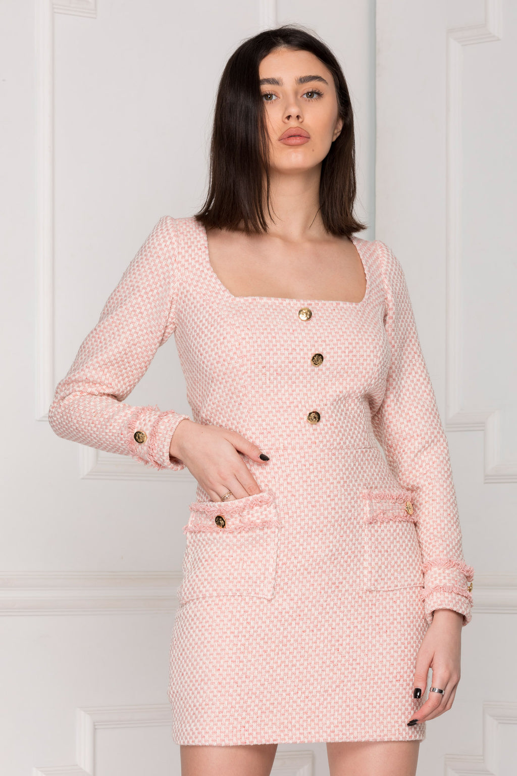 Classic Pink Tweed Dress perfect for office.