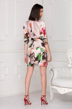 Floral Luxe Satin Dress Full Back.