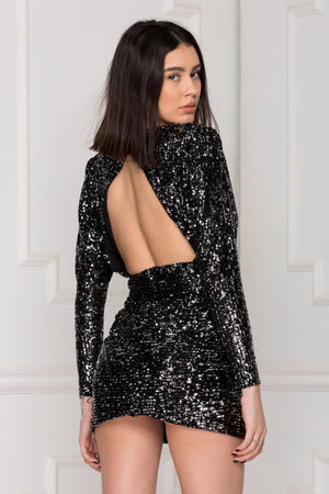 Gia Sequins Dress back details.
