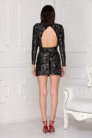 Gia Sequins Dress back full body.