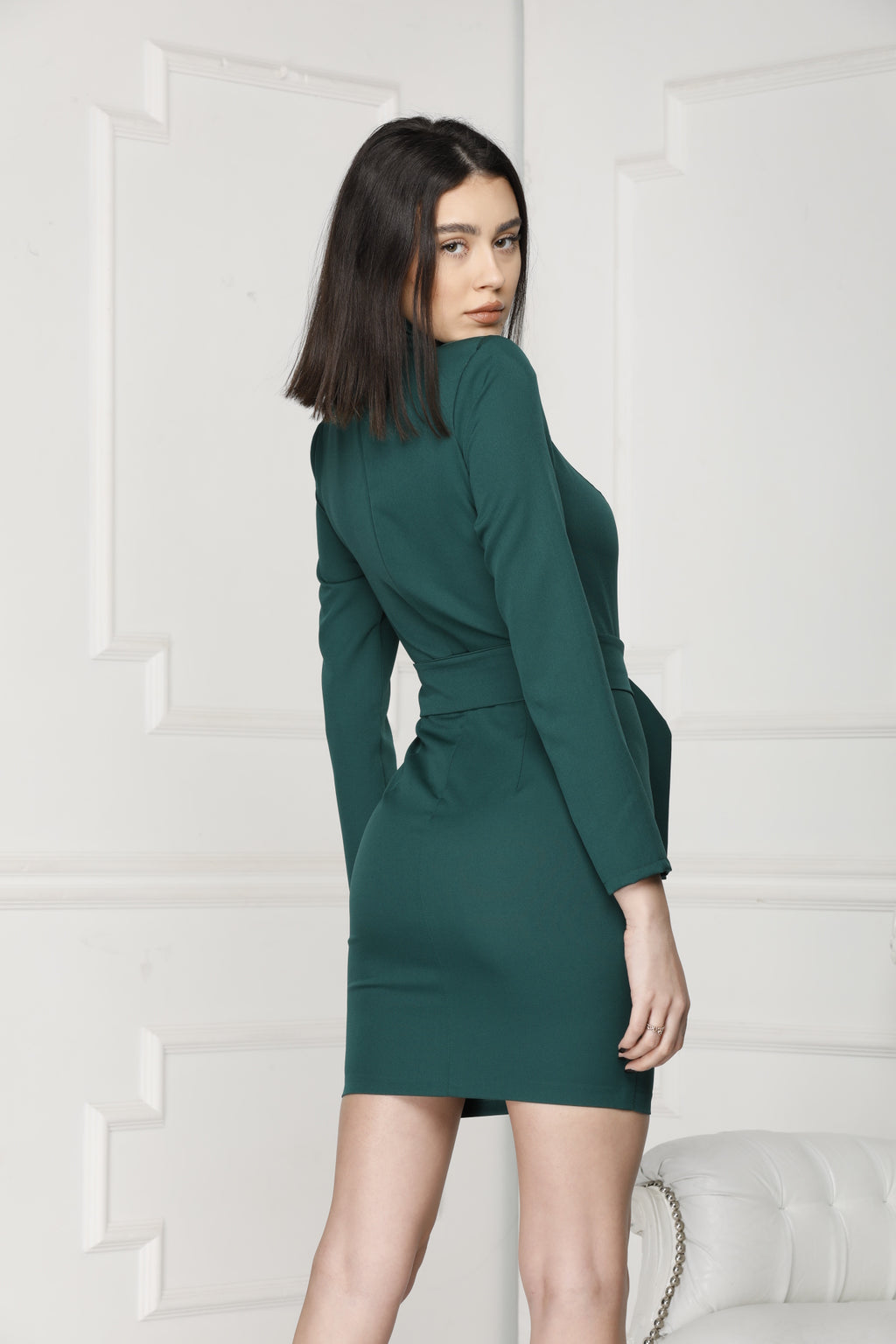 Green Mini Luxe Dress Back side.